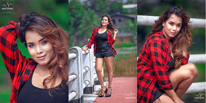 Chalani Weerarathne Hot Images in Black Shorts